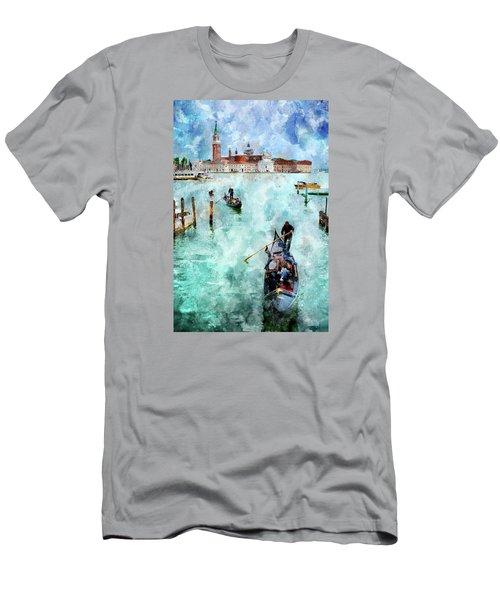 Men's T-Shirt (Athletic Fit) featuring the digital art Gondola Rides And San Giorgio Di Maggiore In Venice by Eduardo Jose Accorinti