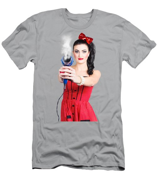 Hairdresser Woman Shooting A Cool Haircut In Style Men's T-Shirt (Athletic Fit)