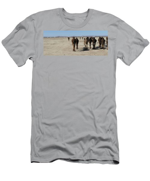Herd Of Camels Crossing The Highway Near  Rissani Men's T-Shirt (Athletic Fit)