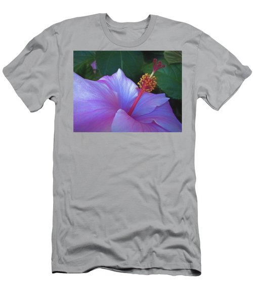 Men's T-Shirt (Athletic Fit) featuring the mixed media Hibiscus Grace 5  by Lynda Lehmann