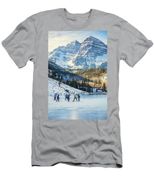 Hockey On Maroon Lake Maroon Bells Aspen Colorado Men's T-Shirt (Athletic Fit)