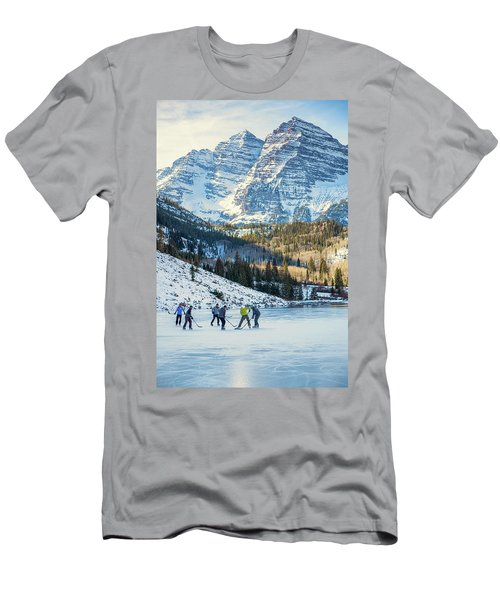 Hockey On Maroon Lake Maroon Bells Aspen Colorado Men's T-Shirt (Athletic Fit)