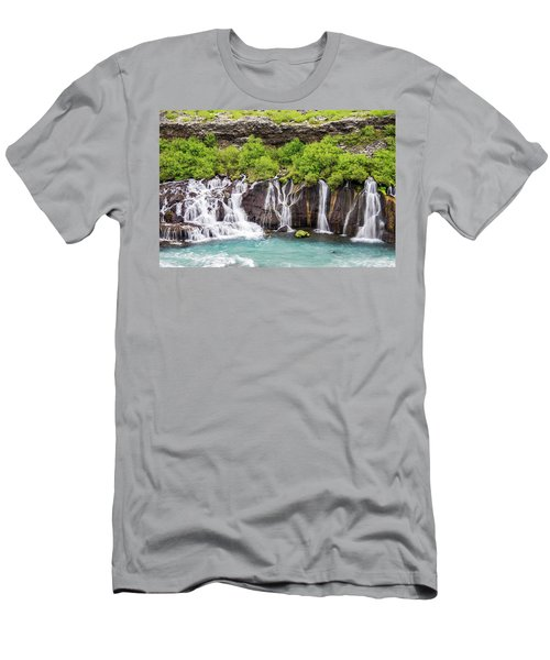 Men's T-Shirt (Athletic Fit) featuring the photograph Hraunfossar Falls - Iceland by Marla Craven