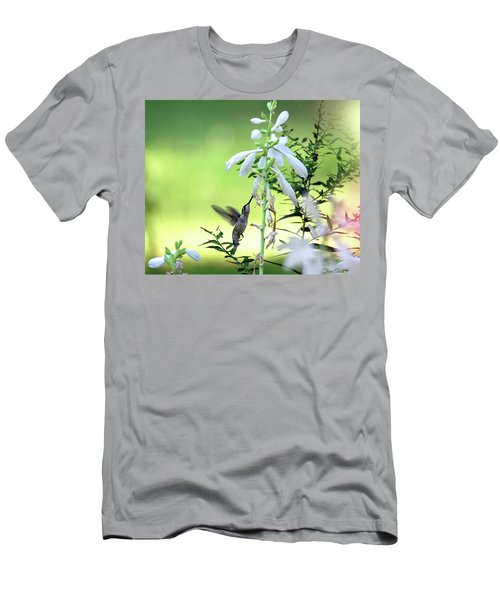 Men's T-Shirt (Athletic Fit) featuring the photograph Hummingbird And Hosta Flowers by Trina Ansel
