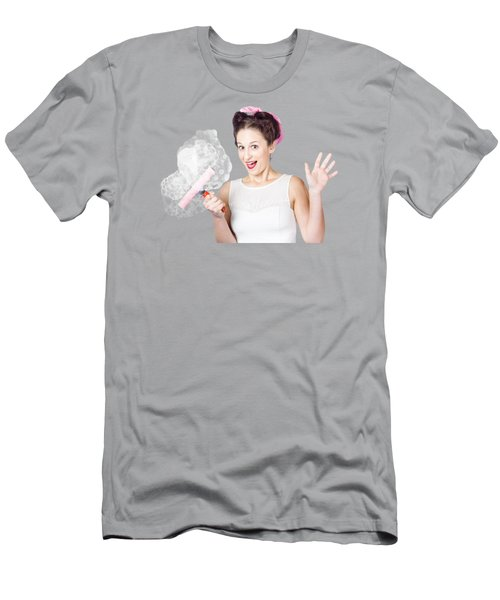 Hysterical Pin-up Woman Washing Windows On Yellow Men's T-Shirt (Athletic Fit)