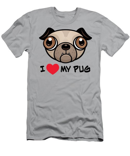 I Love My Pug Men's T-Shirt (Athletic Fit)