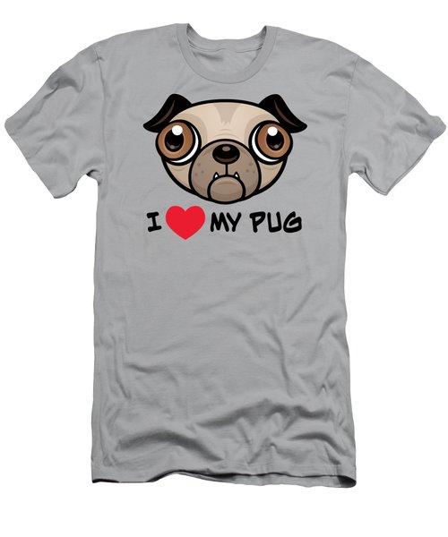 I Love My Pug Men's T-Shirt (Athletic Fit)