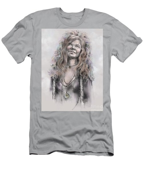 Men's T-Shirt (Athletic Fit) featuring the mixed media Janis Joplin by Lora Serra