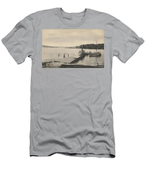 Men's T-Shirt (Athletic Fit) featuring the photograph Lake View Hotel Dock On Lake Hopatcong by Mark Miller