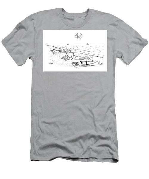 Laptop At The Beach Men's T-Shirt (Athletic Fit)