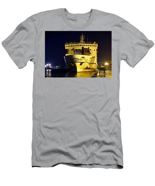Men's T-Shirt (Athletic Fit) featuring the photograph Large Ferry Docked In Port By Night by Yali Shi
