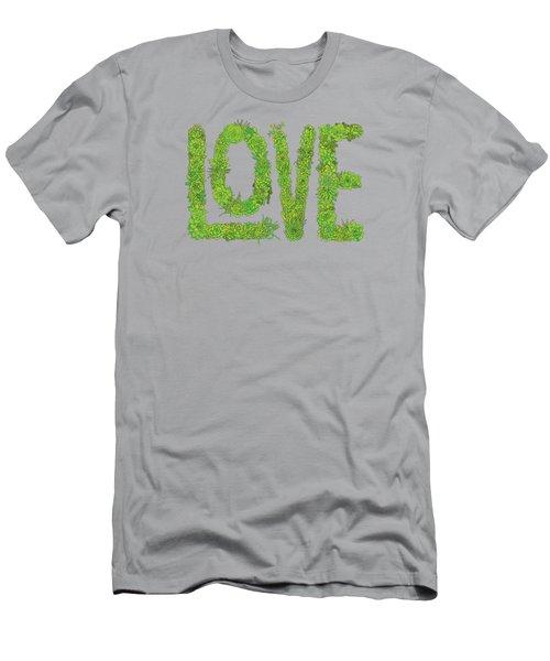 Love Succulent Dark Background Men's T-Shirt (Athletic Fit)