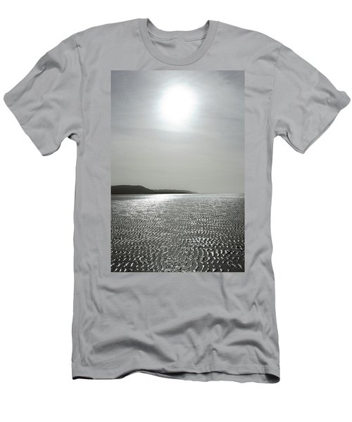 Low Tide Sandy Beach Ripples Silhouetted Against Sun Men's T-Shirt (Athletic Fit)