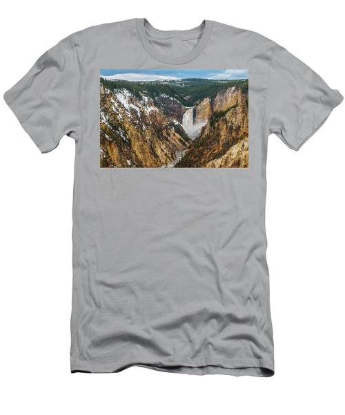 Men's T-Shirt (Athletic Fit) featuring the photograph Lower Yellowstone Falls - Horizontal by Matthew Irvin