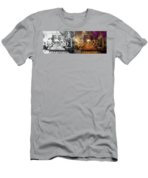 Men's T-Shirt (Athletic Fit) featuring the photograph Machinist - War - Meanwhile In The Bomb Factory 1912 - Side By Side by Mike Savad