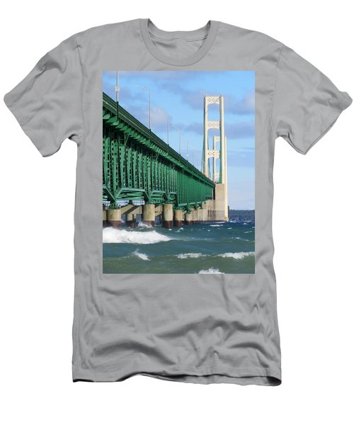 Mackinac Bridge And Waves Men's T-Shirt (Athletic Fit)