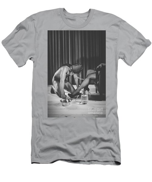 Man With Masked Face On His Knees In Front Of His Mistress Men's T-Shirt (Athletic Fit)