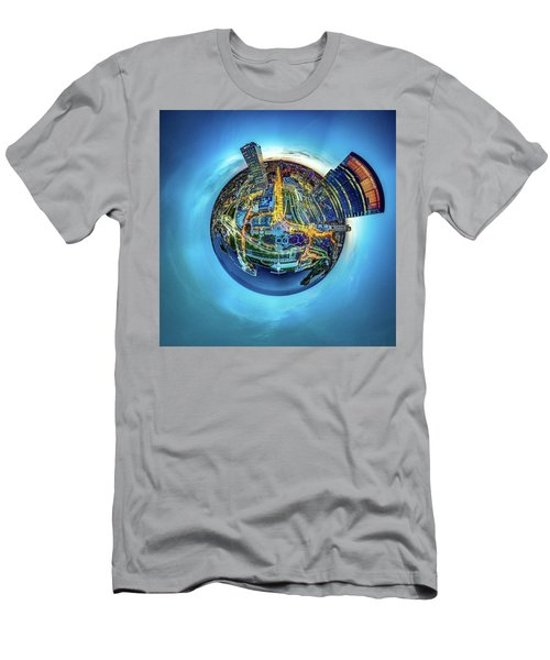 Men's T-Shirt (Athletic Fit) featuring the photograph Milwaukee At Dusk Little Planet by Randy Scherkenbach