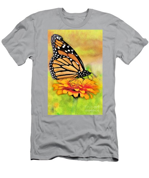 Monarch Butterfly On Flower Men's T-Shirt (Athletic Fit)