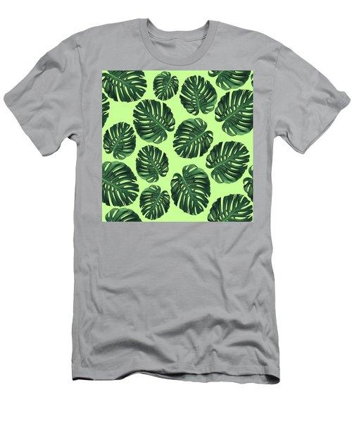 Monstera Leaf Pattern - Tropical Leaf Pattern - Green - Tropical, Botanical - Modern, Minimal Design Men's T-Shirt (Athletic Fit)