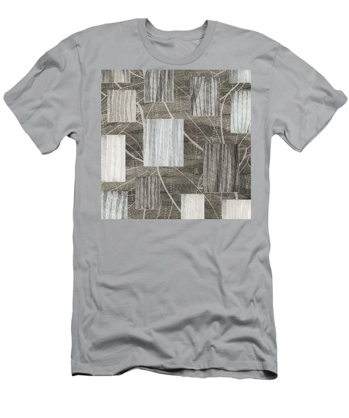 Neutral Leaf Print Squares Cream Men's T-Shirt (Athletic Fit)