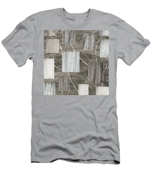 Neutral Leaf Print Squares Cream Men's T-Shirt (Athletic Fit)