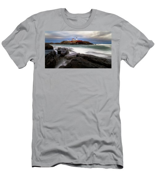 Men's T-Shirt (Athletic Fit) featuring the photograph  Nubble Lighthouse, York Me. by Michael Hubley