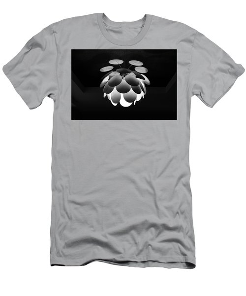 Men's T-Shirt (Athletic Fit) featuring the photograph Ornamental Ceiling Light Fixture - Grayscale by Debi Dalio