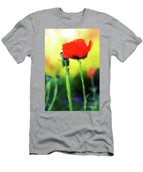 Painted Poppy Abstract Men's T-Shirt (Athletic Fit)