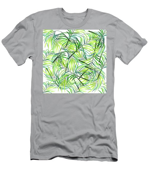 Palm Leaf Pattern 1 - Tropical Leaf Pattern - Green, White - Tropical, Botanical Pattern Design Men's T-Shirt (Athletic Fit)