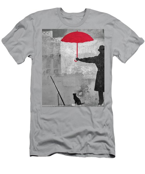Paris Graffiti Man With Red Umbrella Men's T-Shirt (Athletic Fit)