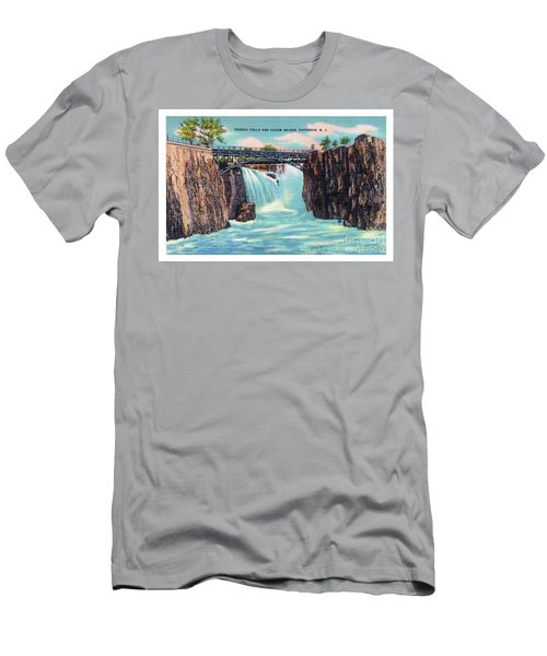 Men's T-Shirt (Athletic Fit) featuring the photograph Passaic Falls And Chasm Bridge Paterson N J  by Mark Miller