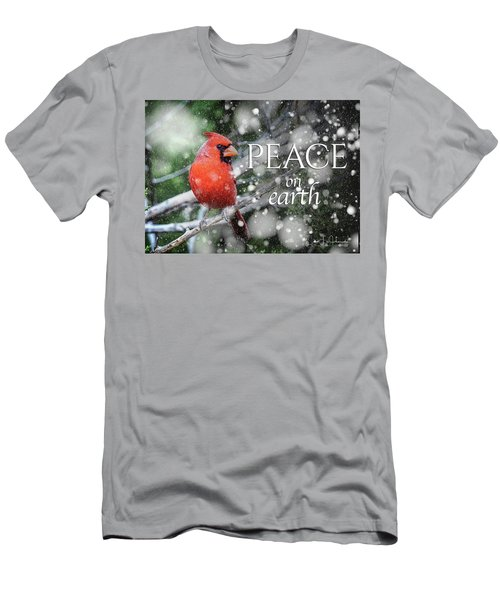 Peace On Earth W/cardinal Men's T-Shirt (Athletic Fit)