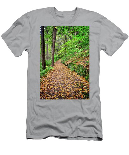 Men's T-Shirt (Athletic Fit) featuring the photograph Peaceful Autumn Trail At Watkins Glen State Park by Lynn Bauer