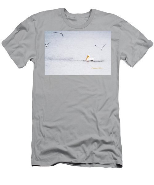 Men's T-Shirt (Athletic Fit) featuring the photograph Pelican Mouth Full by Edward Peterson