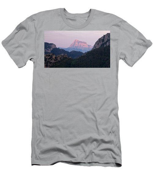 Men's T-Shirt (Athletic Fit) featuring the photograph Pena Montanesa Glowing Red by Stephen Taylor