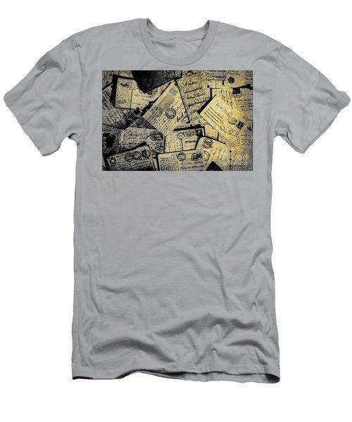 Piled Paper Postcards Men's T-Shirt (Athletic Fit)