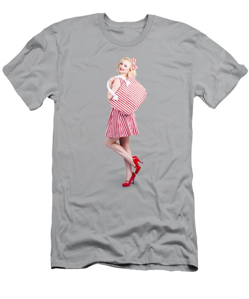 Pin Up Girl Wearing Stripped Red Dress Holding Bag Men's T-Shirt (Athletic Fit)