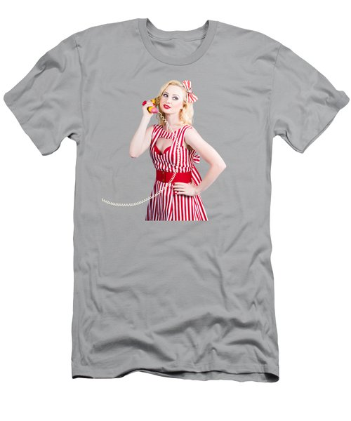 Pin Up Woman Ordering Organic Food On Banana Phone Men's T-Shirt (Athletic Fit)