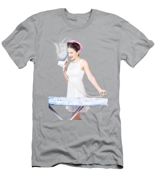 Pin Up Woman Providing Steam Clean Ironing Service Men's T-Shirt (Athletic Fit)