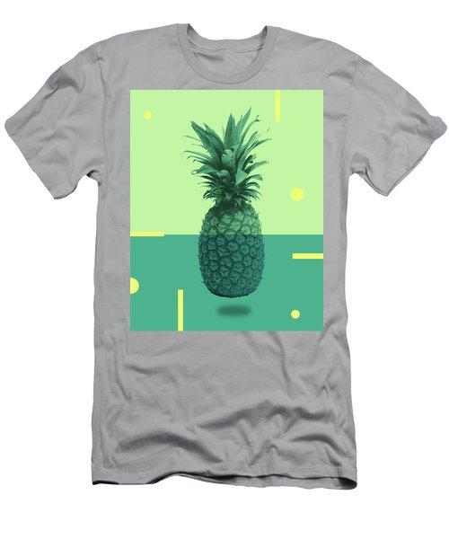 Pineapple Print - Tropical Decor - Botanical Print - Pineapple Wall Art - Blue, Teal, Aqua - Minimal Men's T-Shirt (Athletic Fit)