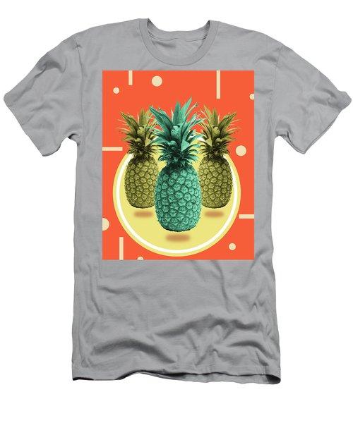 Pineapple Print - Tropical Decor - Botanical Print - Pineapple Wall Art - Orange, Blue - Minimal Men's T-Shirt (Athletic Fit)
