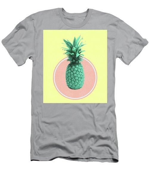 Pineapple Print - Tropical Decor - Botanical Print - Pineapple Wall Art - Yellow, Pink - Minimal Men's T-Shirt (Athletic Fit)