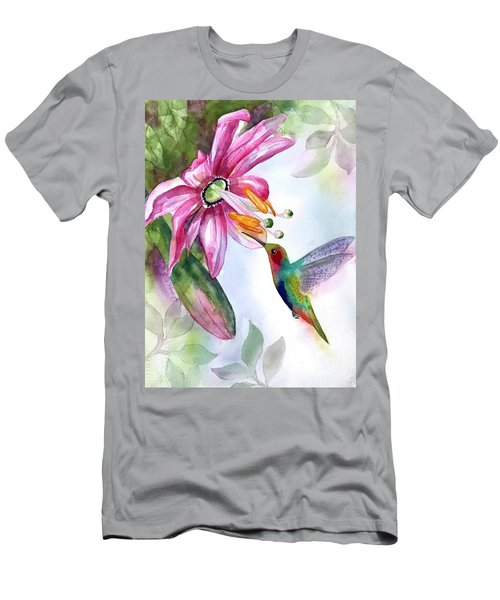 Pink Flower For Hummingbird Men's T-Shirt (Athletic Fit)