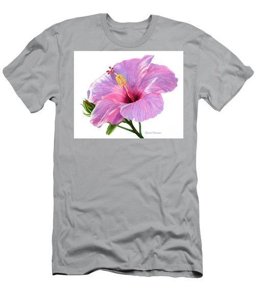 Pink Hibiscus Blossom With Blue Shadows Men's T-Shirt (Athletic Fit)