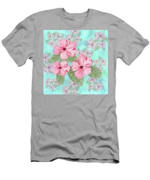 Pink Hibiscus Print On Aqua Men's T-Shirt (Athletic Fit)