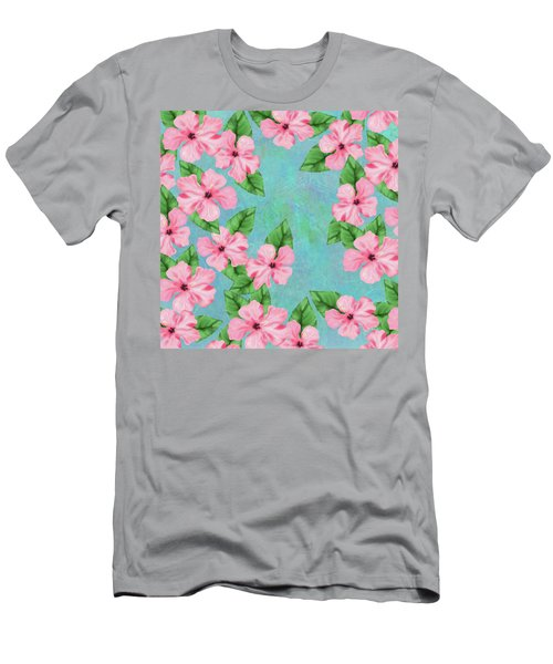 Pink Hibiscus Tropical Floral Print Men's T-Shirt (Athletic Fit)