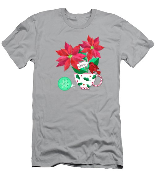 Poinsettia In Christmas Cup Men's T-Shirt (Athletic Fit)