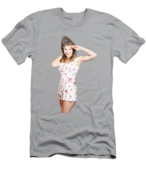 Pretty Female Pinup Pilot In White Retro Dress Men's T-Shirt (Athletic Fit)
