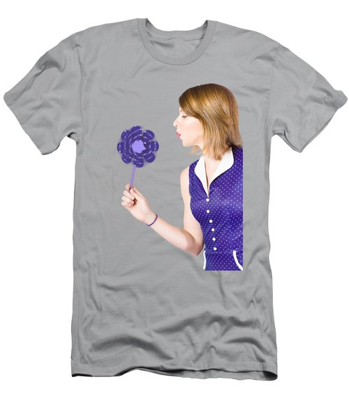 Pretty Pin Up Girl Playing With Purple Pinwheel Men's T-Shirt (Athletic Fit)